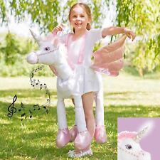 filles 3-7 ans Ride Licorne Déguisement Jouet peluche Queue De Cheval illuminé &