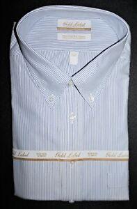 Roundtree Yorke Dress Shirt Size 19 - 37 Tall Navy Blue Pinstriped NWT (BT-78)