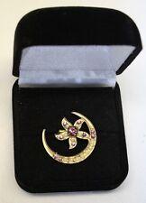 Antique Victorian Edwardian Moon & Flower Faux Pearls Amethyst brooch