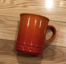 """Flame"" 12 Oz LE CREUSET 4"" Tall Mug NWT Stoneware Coffee Cup Orange"