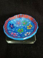 Hand Painted Glazed Terra-cotta Three-Footed Floral Bowl