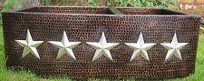 COPPER DOUBLE  Kitchen Sink  Apron handmade hammered Stars Design Nickel