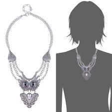 Women Vintage Retro Silver Boho Crystal Chain Statement Bib Owl Necklace Jewelry