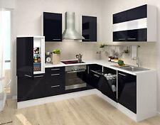 respekta Premium L-Form Winkel Küche Küchenzeile weiss schwarz 260 x 200cm Ceran