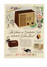 VINTAGE 1948 RCA VICTOR RADIO GOLDEN THROAT GRADUATION SCHOOL DIPLOMA AD PRINT