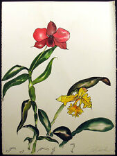 Noel DeGaetano Original Watercolor #4 Art Painting orchids, floral '81 MakeOffer