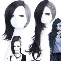 Tokyo Ghoul Uta Mask Maker Wavy Black and Silvery Cosplay Wig Hair + Wig Cap