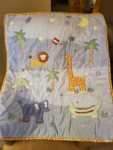 Lambs And Ivy Animal Textured Baby Crib Blanket Quilt Wall Hanging Vinta 34 x 41