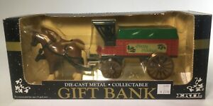 Ertl Die Cast Metal Collectible Gift Bank Horse And Carriage Happy Holidays