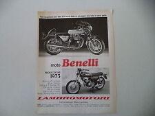 advertising Pubblicità 1973 MOTO BENELLI TORNADO 650 S2/125 2C