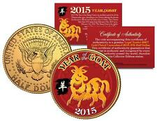 2015 Chinese NEW YEAR of the GOAT Colorized JFK US Half Dollar Coin Gold Plated
