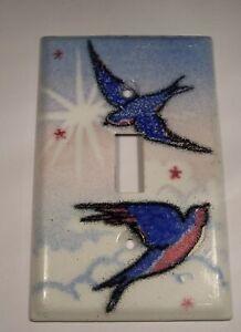 ADRIENNE BLUM ENAMEL SINGLE LIGHT SWITCH PLATE COVER BLUE BIRD FOR HAPPINESS XC