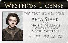 Arya Stark GAME OF THRONES Maisie Williams Winterfell card Drivers License