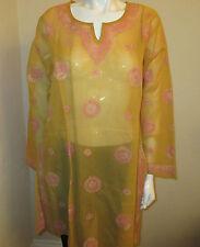 New India Chikan Lucknow 100% Cotton Ethnic Kurta Kurti Women Ladies Orange Top