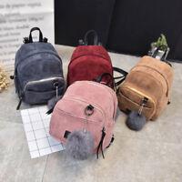 Women's Mini Backpack Girl School Shoulder Bag Rucksack Corduroy Travel Handbag