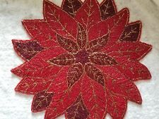 New listing 4 Beaded Poinsettia Placemats Nicole Miller Home New Christmas Holidays Winter
