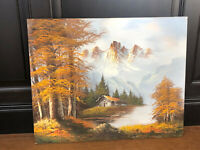 L. Monica Vintage Original Painting Old Rustic Barn Mountains Farm Canvas Art