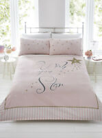 Wish Upon A Star Pink Gold Stripe Duvet Quilt Cover Bedding Set + Pillowcases