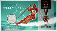 Österreich 5 Euro 2013 FIS Alpine Ski WM in Schladming handgehoben im Folder