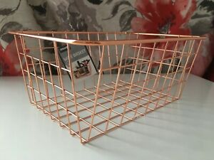 Copper Rose Gold Metal Wire Basket Multi Purpose Storage Organiser Home Decor