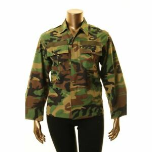 TRICIA FIX Women's Floral Embroidered Back Camouflage Military Jacket Top S TEDO