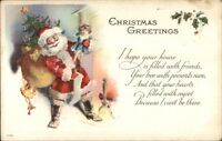 Christmas - Santa Claus at Fireplace w/ Dolly c1915 Postcard