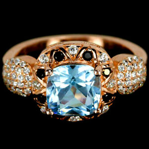 GENUINE AAA SKY BLUE TOPAZ CUSHION & MULTI COLOR CZ STELRING 925SILVER RING 8.25