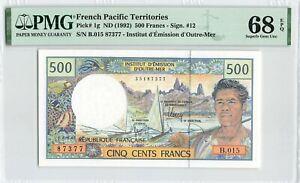 FRENCH PACIFIC TERRITORIES 500 Francs 1992, P-1g, PMG 68 EPQ Superb Gem UNC TOP