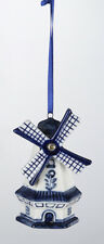 KURT ADLER HAND PAINTED PORCELAIN DELFT BLUE WINDMILL CHRISTMAS ORNAMENT STYLE 3
