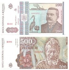 More details for romania 200 + 500 lei 1991/92 matching low serial numbers set 2 pcs unc