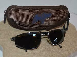 Maui Jim Kahuna Men's Black Polarized Silver Tortoise Frame Sunglasses MJ-162-02