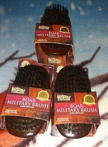 3 Firstline Wav Enforcer Boar Military Brush 100% Pure Boar Bristles Wood Handle