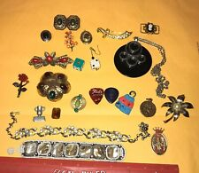 Vintage Junk Drawer Jewelry Lot Flower Brooches Canada Spain Locket Abstract Art
