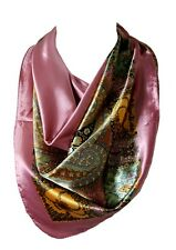 Floral Pattern Bandana Scarf Silk Satin Square Neck Head Wrap