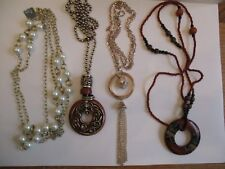 4 Long Necklaces with Pendants - Faux Pearl, Wood, Pink Gold Tone