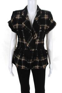 Nanette Lepore Womens Plaid Colette Jacket Black 8