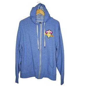 WWE The New Day Unicorn Logo Hoodie Blue XL Long Sleeve Wrestling Sweatshirt