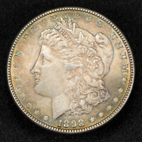 1898 $1 MORGAN SILVER DOLLAR, NEON GREEN TONING LOT#S176