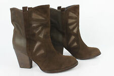 Bottines ANDRE Daim et Cuir Marron T 37 TBE
