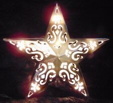 """STAR Lighted Tree Topper Filigree Shiny SILVER Tone 8 1/2"""" NEW Cutout 10 Lights"""