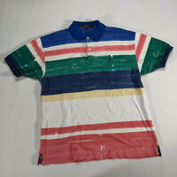 VTG 90s Nautica Striped Polo Shirt XL White green blue Colorblock Short Sleeve