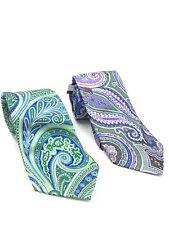 $150 Geoffrey Beene Mens Paisley 2-Pack Lot Silk Blue White Slim Classic Necktie