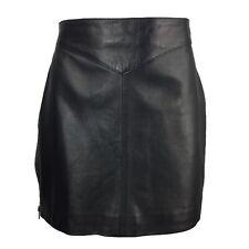 Vintage Black Leather Zipper Straight Mini Skirt M 10 12
