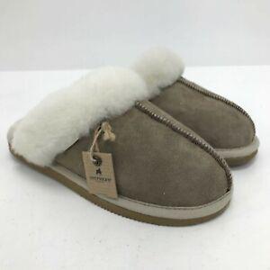 NWT Shepherd Sheepskin Slippers UK 5 Grey Wool Lined Hard Sole Women's 161153