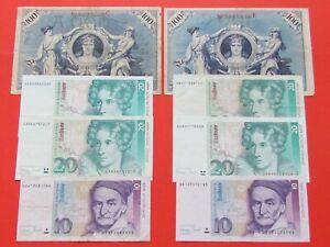 GERMANY ( 1908-1993 ) 2X100,4X20,2X10 MARKS HIGH GRADE RARE SCARCE BANK NOTES