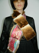 NEW BROWN CHINCHILLA REX FUR STOLE COLLAR SCARF BOA FASHION TWO SIDES FLOWER
