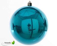 türkis-blau edles Ornament-Design 6 cm ! 6 eisblaue CHRISTBAUMKUGELN,hell