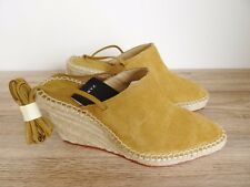 ZARA NATURAL COLOUR SUEDE LEATHER TIED WEDGE SANDAL SHOES SIZE UK 7 EU 40