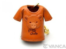 Pig T-shirt Handmade 3D Leather (L) Key chain ring *VANCA* Made in Japan #56874