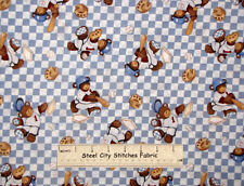 Billy Bear At Bat Teddy Bear Toss Blue Check Baby Boy Nursery Cotton Fabric YARD
